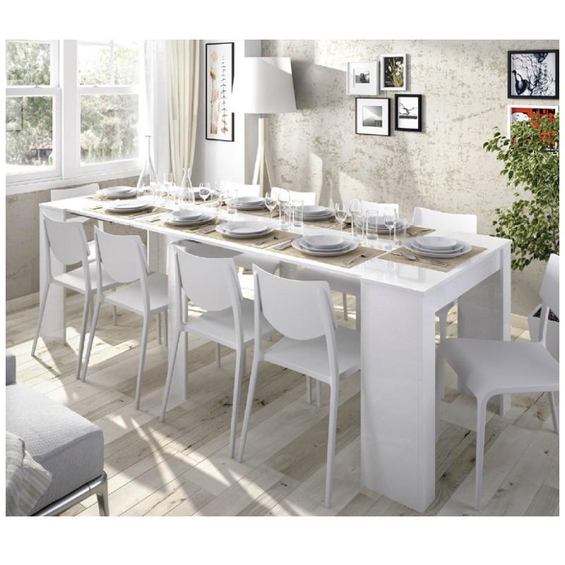 mesa comedor extensible blanca gris natural barata Katy de merkahome