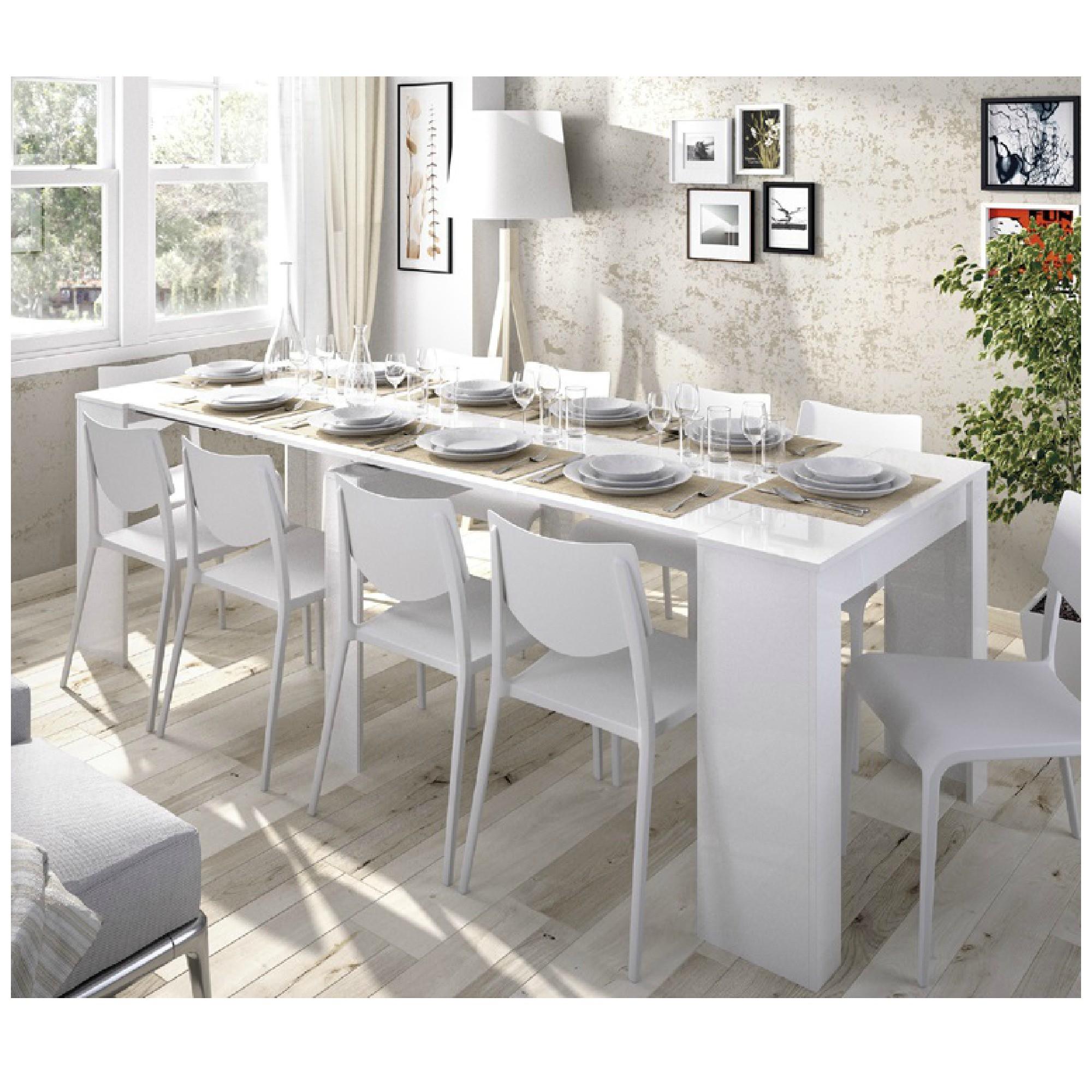 Mesa de comedor extensible barata blanco y gris Katy ...