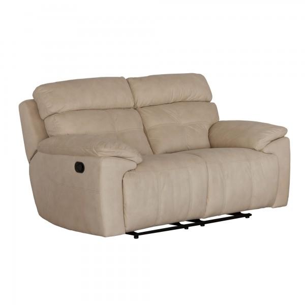 Sofá 2 plazas con relax tapizado en tela - MERKAHOME.COM