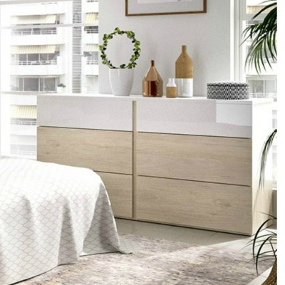 CÓMODA DORMITORIO 6 CAJONES ANAHÍ BLANCO BRILLO-NATURAL O BLANCO BRILLO-GRIS