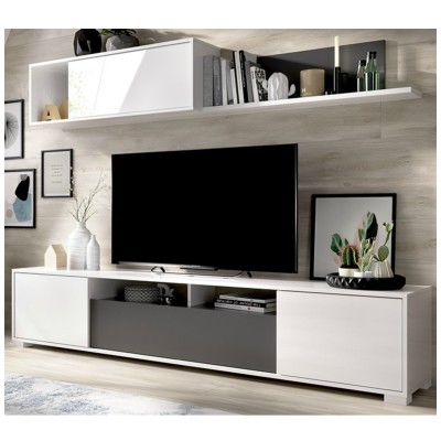 MUEBLE SALON BLANCO CON NATURAL O GRAFITO 200 CM KARIM