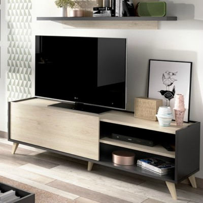 MUEBLE TV NATURAL Y GRAFITO 155 CM NAO NEO