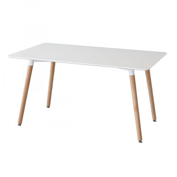 Mesa de comedor lacada blanca patas haya nordik for Mesa comedor ovalada blanca