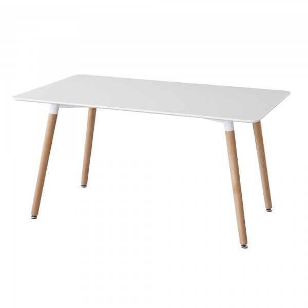 Mesa de comedor lacada blanca patas haya nordik for Mesas de comedor pequea as