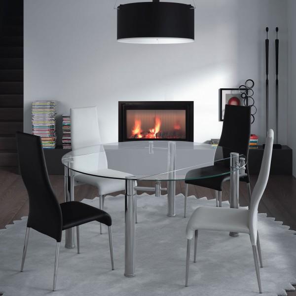 Mesa comedor cristal templado con patas met licas for Mesas redondas de cristal para comedor