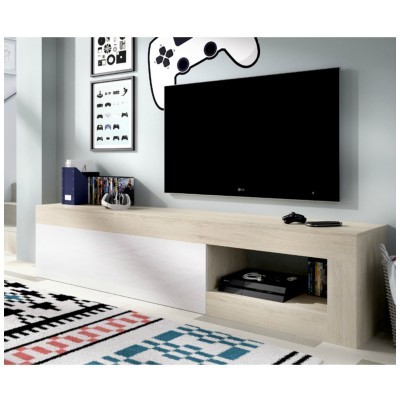 MUEBLE TV BLANCO BRILLO Y NATURAL LEEDS
