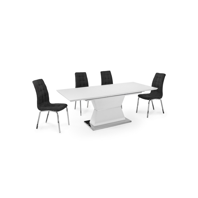 MESA COMEDOR EXTENSIBLE BLANCA MATE PIE CENTRAL 160x90 CM CLAUDIA