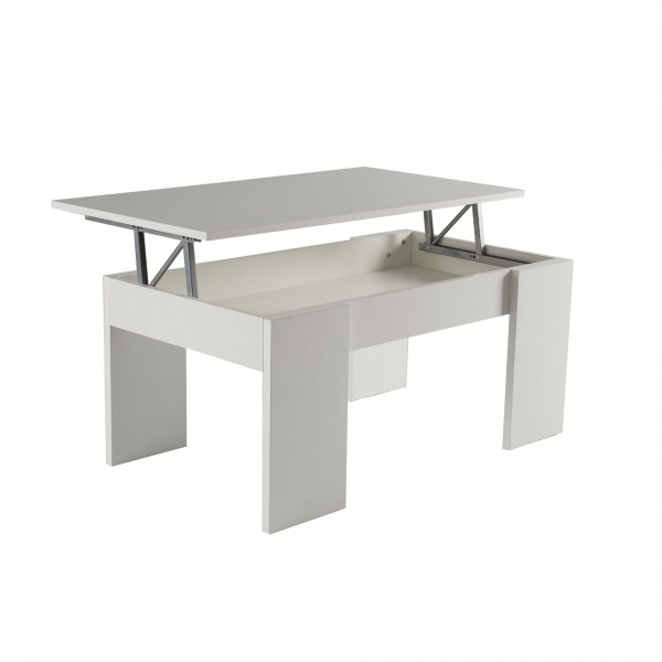Mesa de centro elevable en color blanco o roble for Mesa melamina blanca
