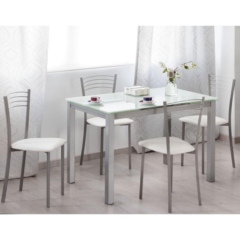 Mesa de cocina extensible met lica y cristal blanco for Mesas de cocina de cristal