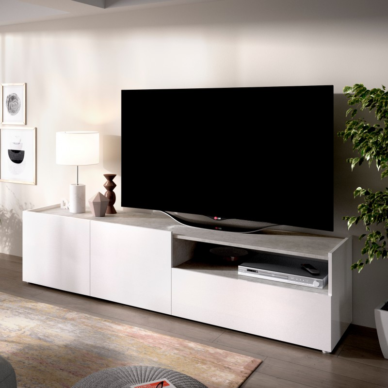 MUEBLE TELEVISION BLANCO Y GRIS 200 CM NIDIA