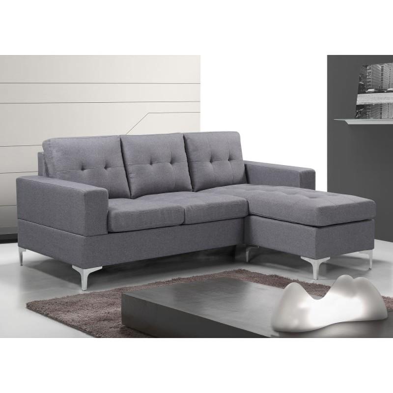 Sofa Chaiselongue 200cm tapizado color gris Viana