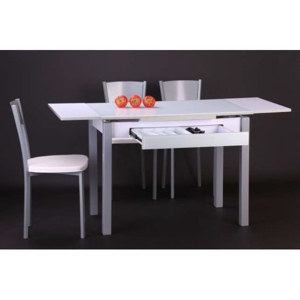 mesa de cocina extensible con cristal optico y cajon duplo