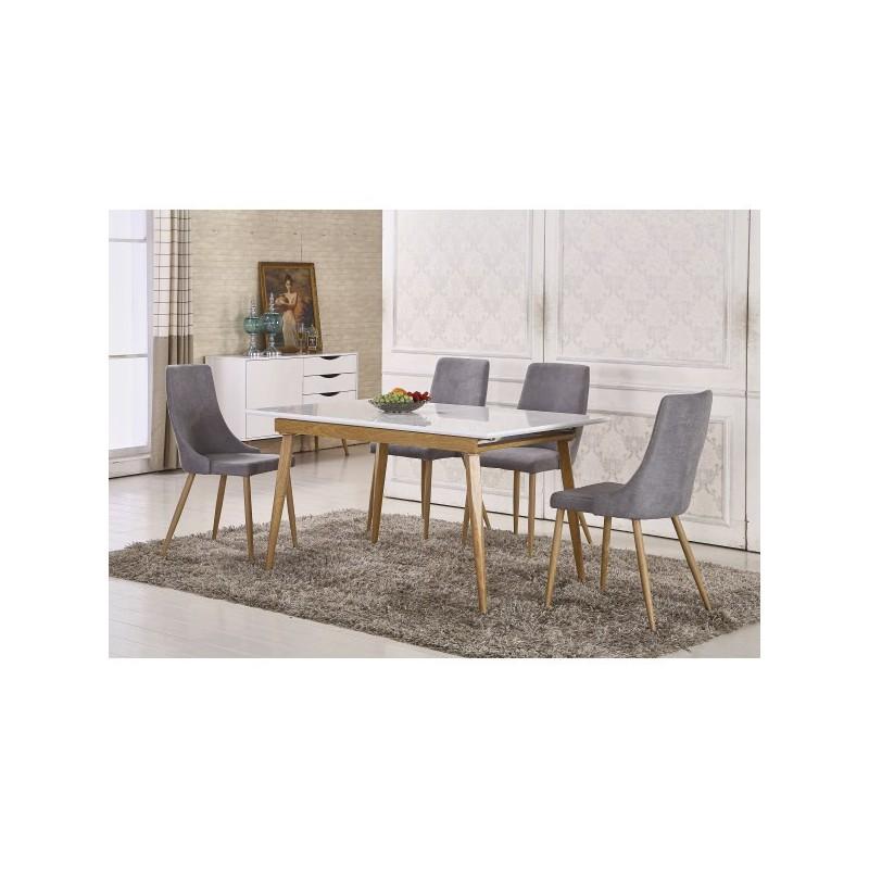 mesa comedor extensible blanca y madera 140x90 cm Briana - Merkahome