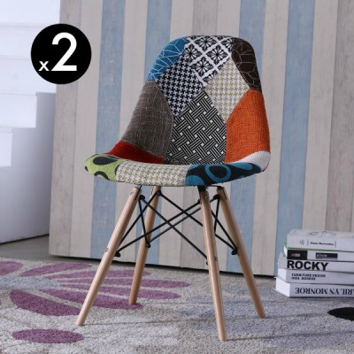 SILLA ROSS TAPIZADA PATCHWORK (2 UNIDADES)