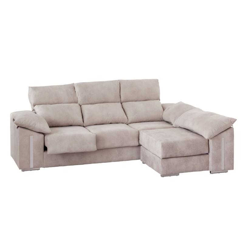 sofa chaiselongue tela 3 asientos y pouf partido marisa