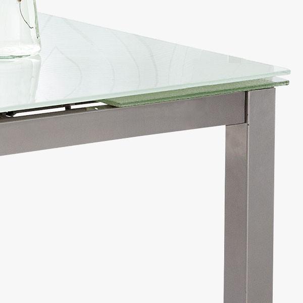 Mesa De Cocina Extensible Metálica Y Cristal Blanco Merkahome Com