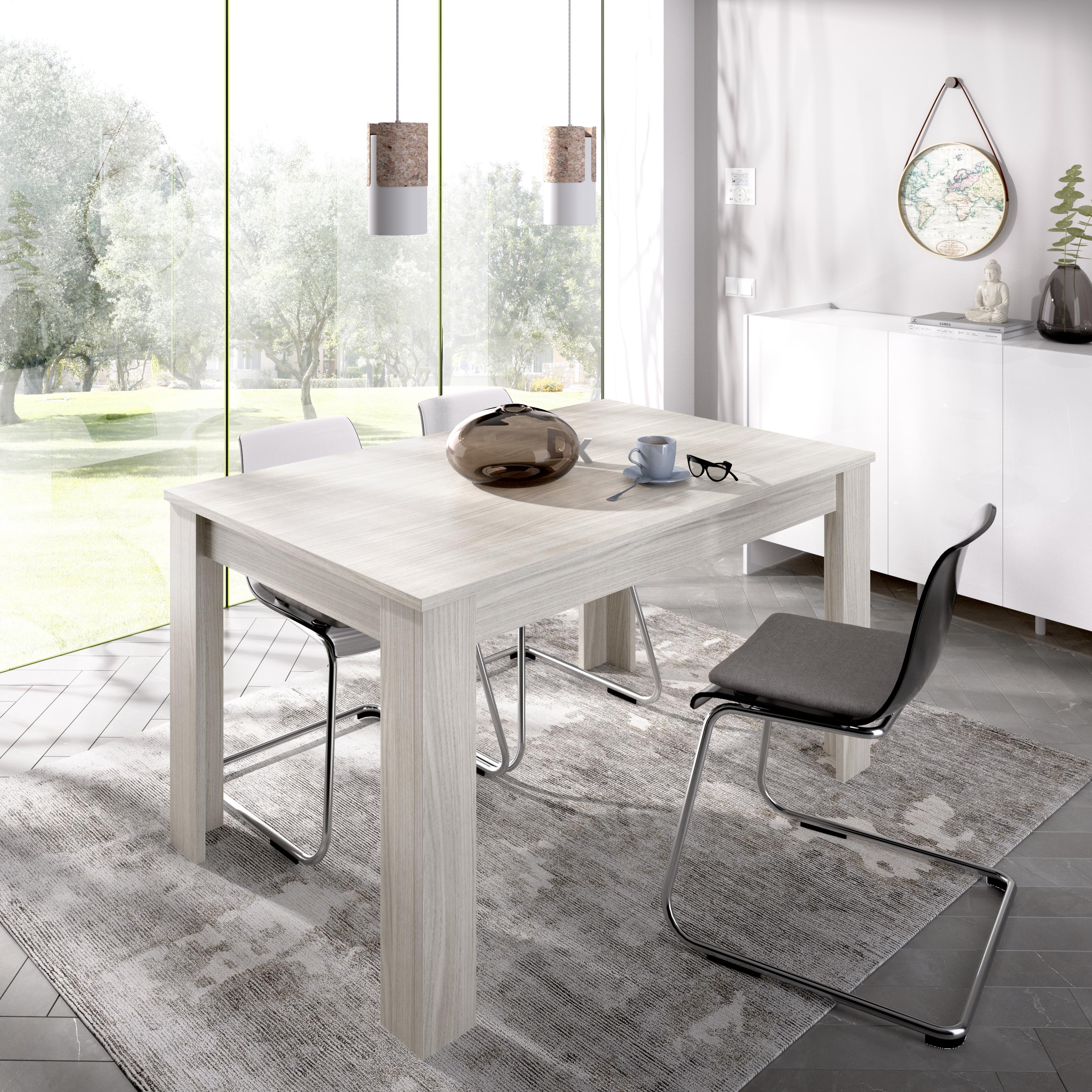 fotos mesa comedor extensible gris, blanca o natural dana 140x90 cm