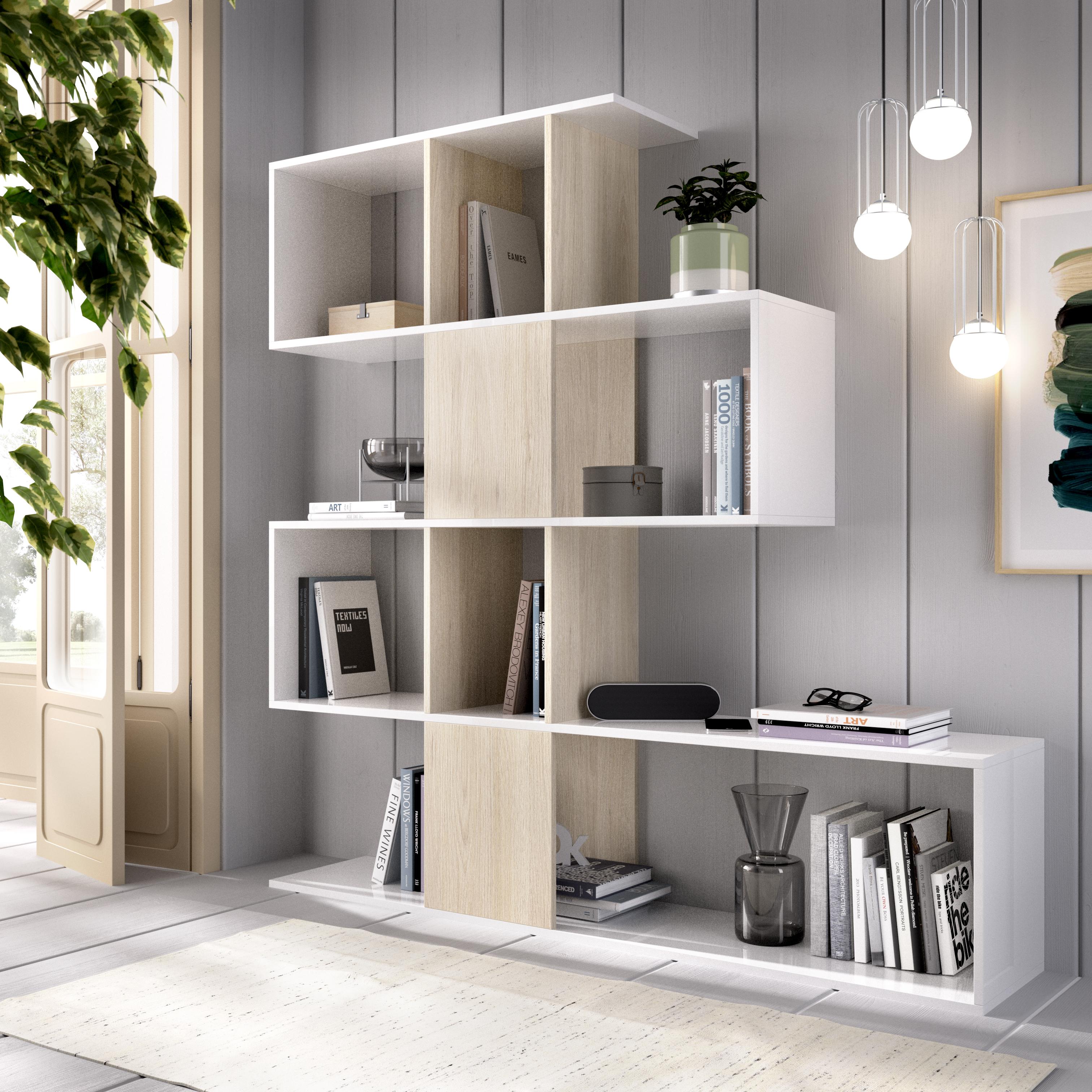estantería blanca y natural 145x145cm pop
