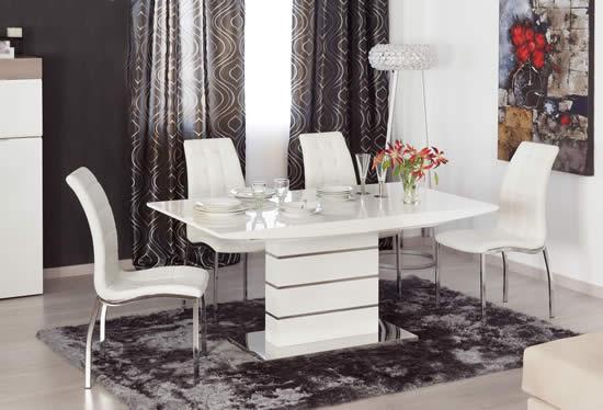 Mesa de comedor pie central Estela blanca y silla tulipán
