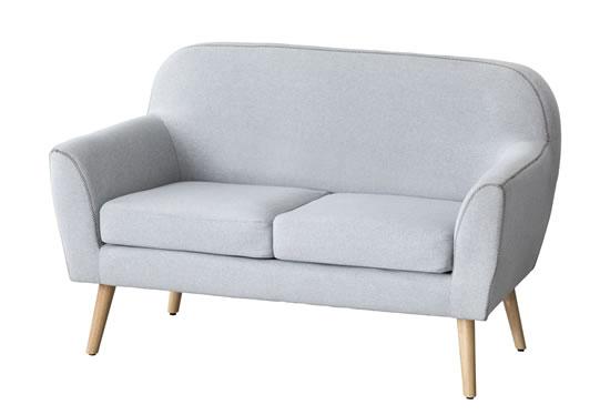 Sofa 2 Plazas Ainhoa nórdico tela gris patas madera moderno cómodo Merkahome