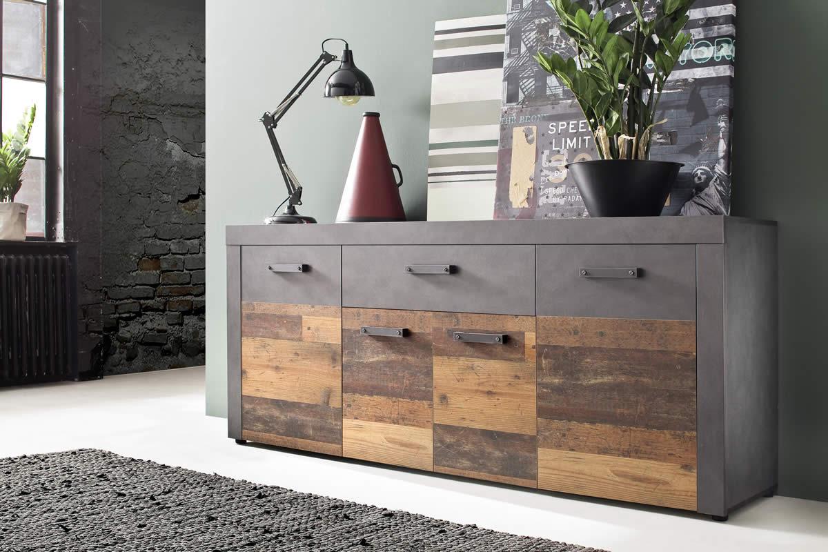 Aparador de diseño industrial acabado en madera envejecida y gris cemento modelo Jones