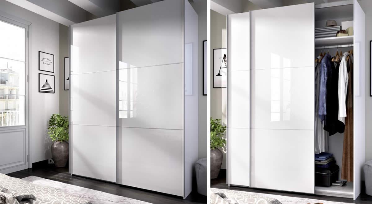Armario de puertas correderas de 150 cm color blanco MATT