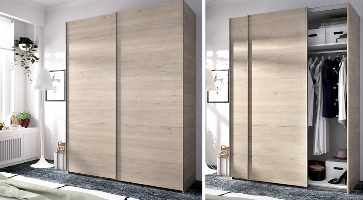 Armario de puertas correderas de 150 cm color natural MATT