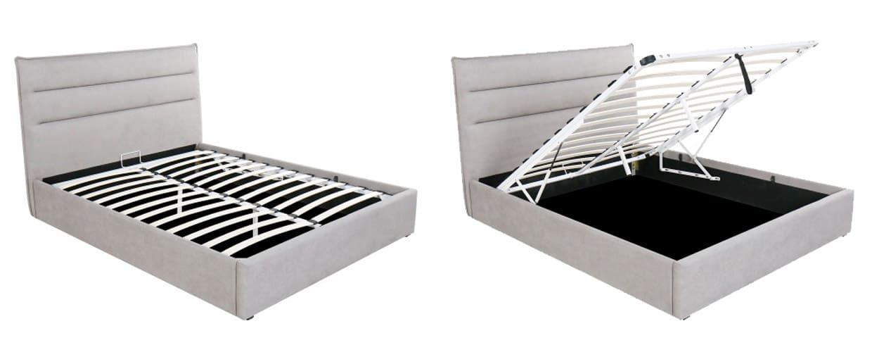 Canapé con cabecero modero modelo Rodas con arcón abatible detalle abierto cerrado - MERKAHOME
