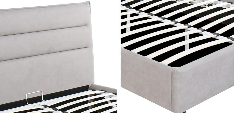 Canapé con cabecero modero modelo Rodas con arcón abatible detalle de somier y cabezzal - MERKAHOME
