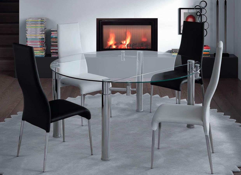 Mesa de comedor redonda extensible de cristal con pata cromada Oslo - MerkaHome