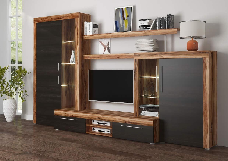 Mueble de Salón con led de 296cm acabado madera modelo Bilbao de MerkaHome