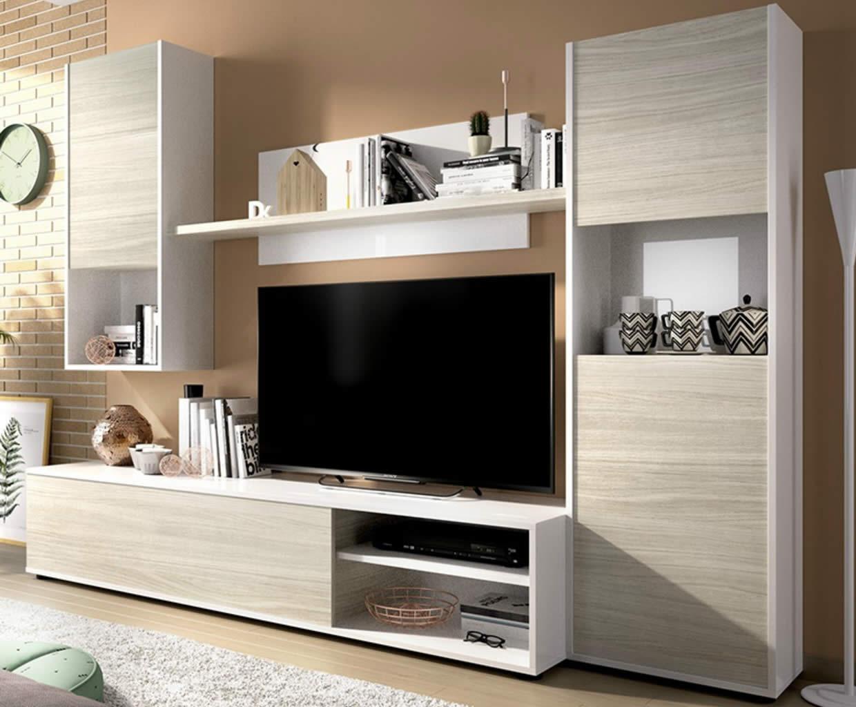 Mueble de salón de 220cm en blanco y gris modelo SKY de Merkahome