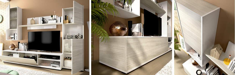 Detalles del Mueble de salón de 220cm en blanco y gris modelo SKY de Merkahome