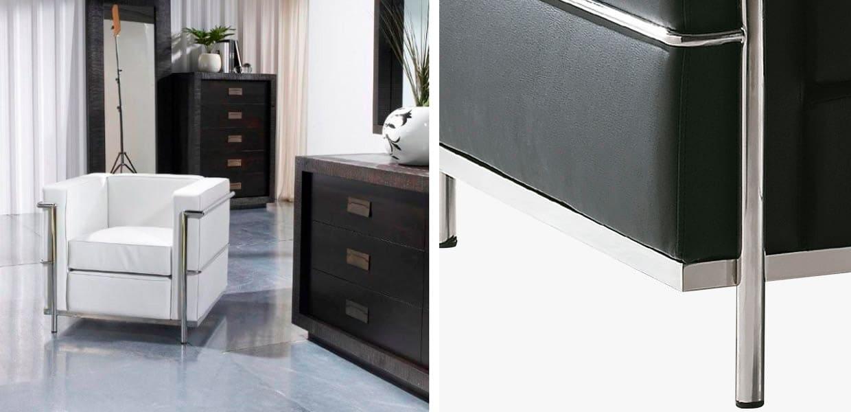 Sillón cuadrado moderno Púa en color blanco - Detalle de la estructura de acero acabado brillante