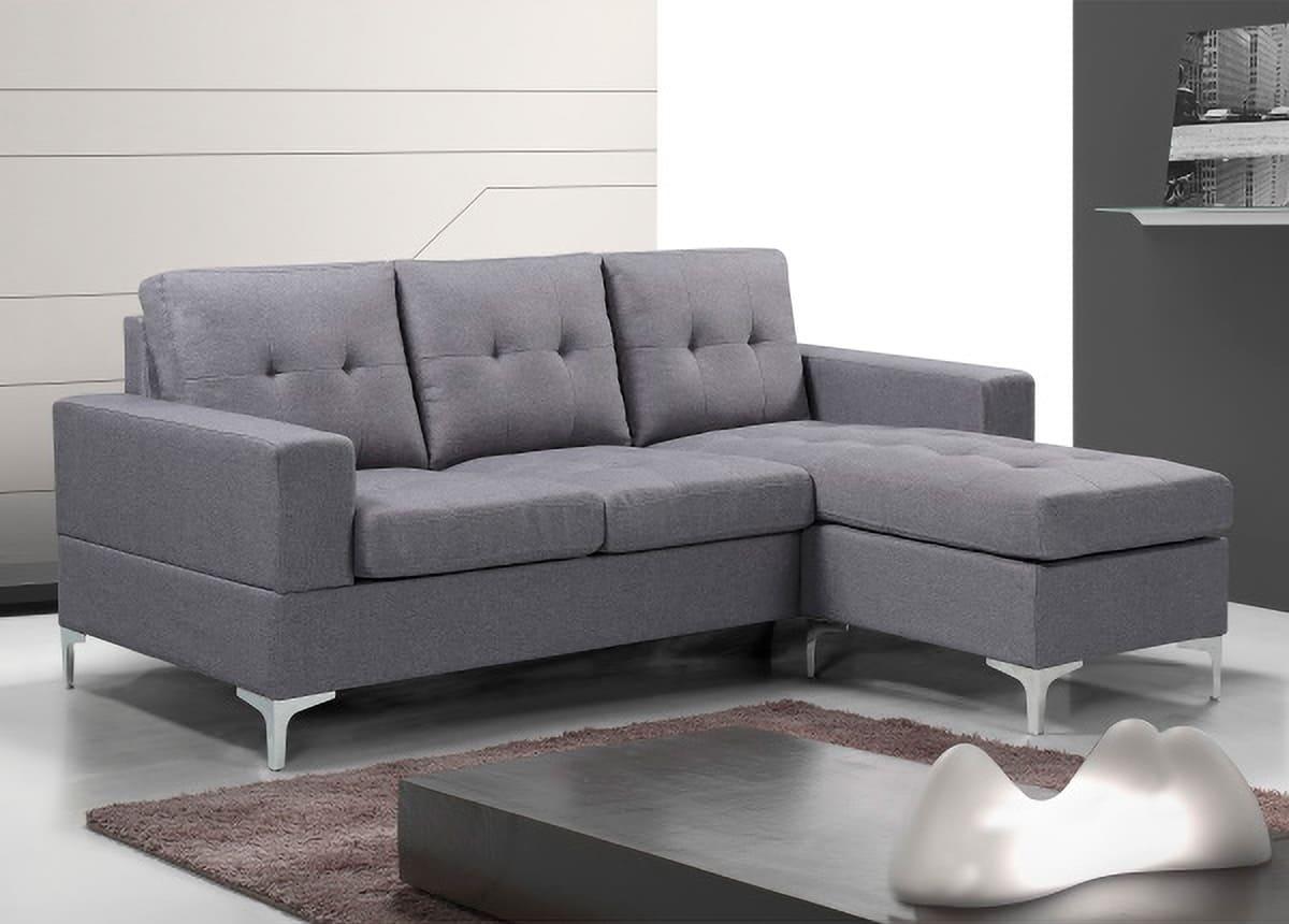 Sofá Chaiselongue 200CM tapizado gris Viana