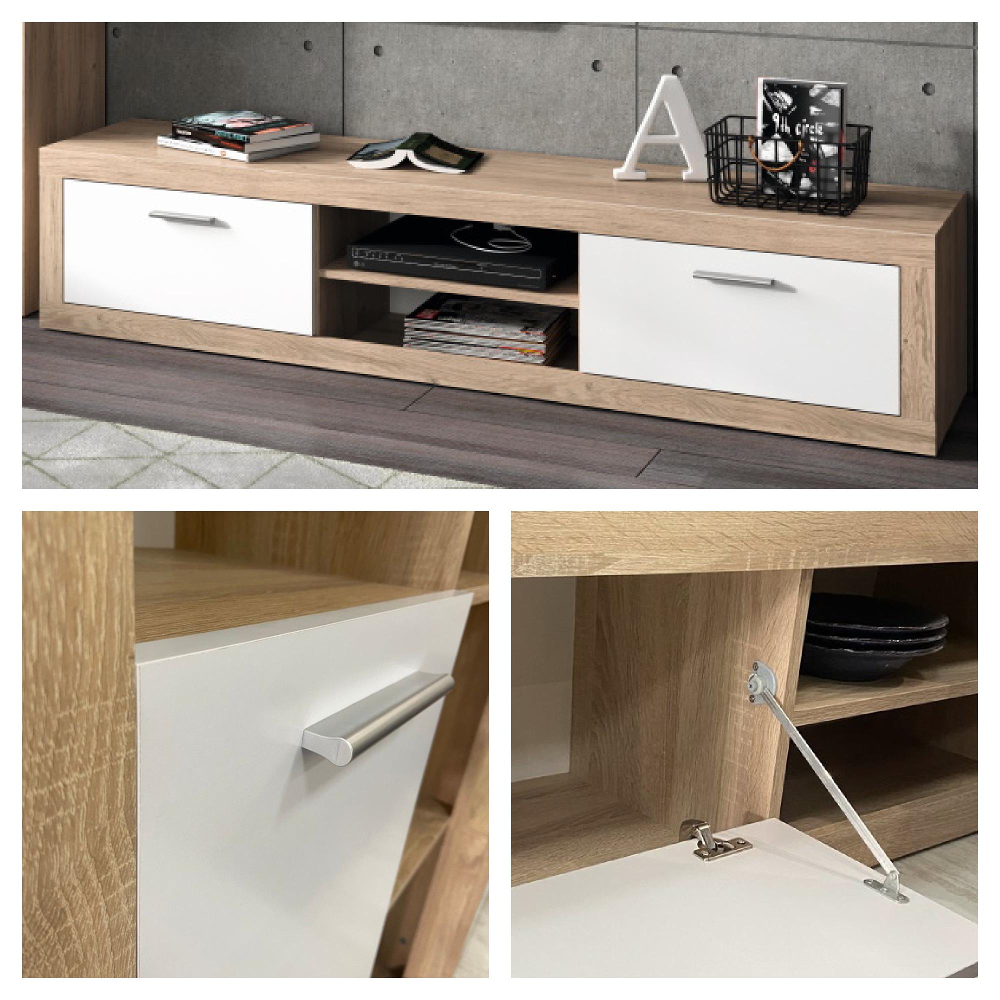 Mueble salón roble y blanco 270 cm Alcalá